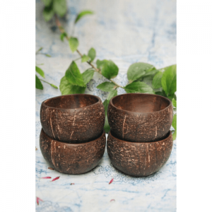 coconut bowls, coconut bowls online, natural bowls online, natural bowls, eco friendly bowls, smoothie bowls, coconutshell products online, dinner set, bowls with spoon and fork, fork spoon, Coconut Bowl (Pack of 4)