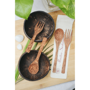 spoon, fork, eco friendly spoon, spoon online, coconut bowls, coconut bowls online, natural bowls online, natural bowls, eco friendly bowls, smoothie bowls, coconutshell products online, dinner set, bowls with spoon and fork, fork spoon, The Coconut Bowl & Cutlery Bundle