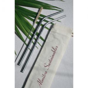 stainless steel straw, bamboo straw, wooden straw, natural, eco friendly, natural straw, handmade in india, india made, copper straw, reusable straw, eco friendly straw , Stainless steel straw (Bent) Pack of 2 with 1 Cleaner