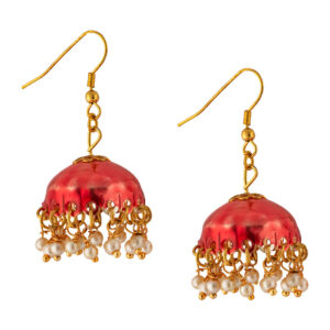 earrings, jhumki, jhumki earrings, red jhumki