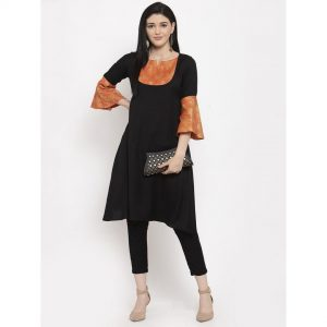 black, black kurti, black kurta set, casual dress, casuals
