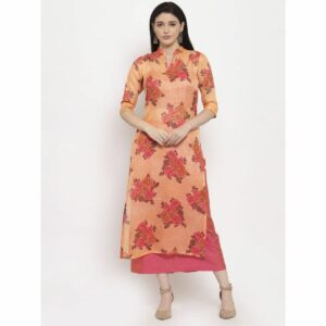 light orange kurta, light orange, light orange kurta set, orange skirt