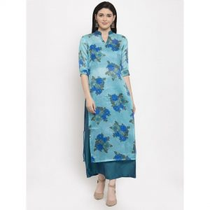 light blue kurta set, light blue, light blue kurta, blue skirt