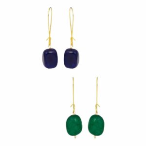 Emerald & Neelam Loop Dangler Earrings