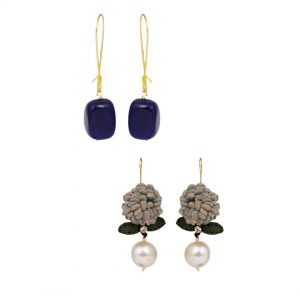 Grey Flower Loop & Blue Loop Dangler Earrings