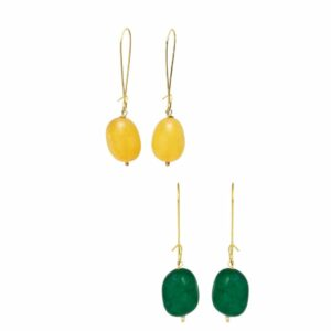 Pukhraj Loop & Emerald Loop Dangler Earrings