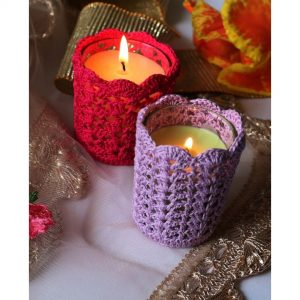 coasters, crochet candle covers, candle covers, crocheted