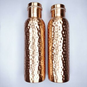 Copper bottle, reusable bottle, hammered copper bottle