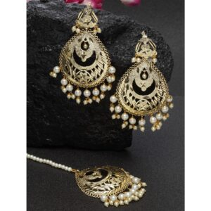 Dugristyle Gold-Plated Dangle Earring With Maang Teeka, earrings, earring, jewellery