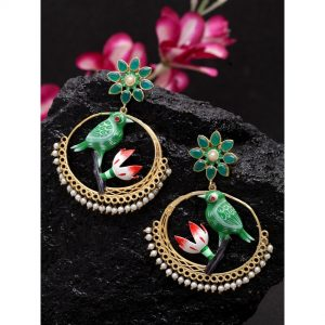 Dugristyle Golden And Green Traditional Gold-Plated Balis, earrings, earring, jewellery
