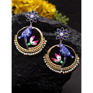 Dugristyle Golden And Blue Traditional Gold-Plated Balis, earrings, earring, jewellery