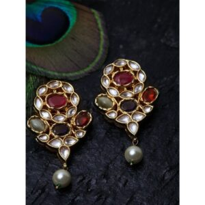 Dugristyle Navaratan Stone Handcrafted Jhumki Earring, Earrings