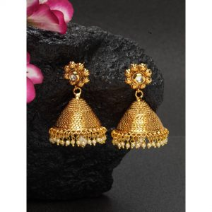 Dugristyle Gold-Plated Chitkari Flower Pearly Jhumki Earrings,