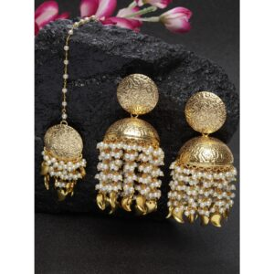 Dugristyle Jhumki Earring With Maang Teeka Set
