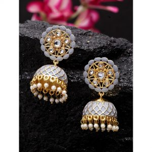 Dugristyle Stylish Gray Jhumki, earrings, earring, jewellery