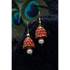 Dugristyle Red Ruby Handcrafted Jhumki Earring, Earrings