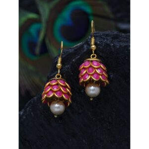 Dugristyle Pink Ruby Handcrafted Jhumki Earring, Earrings