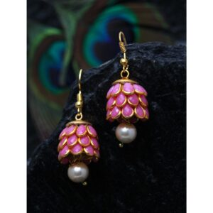 Dugristyle Pearly Pink Handcrafted Jhumki Earring, Earrings