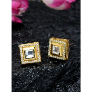 Dugristyle Square Polki Studs, earrings, earring, jewellery