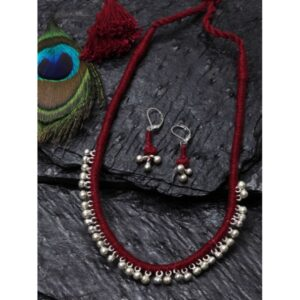 Dugristyle Ruby Ghungru Necklace Set, Necklace Set, Earrings