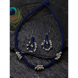Dugristyle Classy Blue Necklace Set, Necklace Set, Earrings