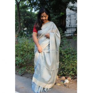 Balika Modal Silk Handblock Printed Saree - Blue Stripes