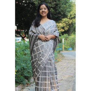Balika Modal Silk Handblock Printed Saree - Grey Checks