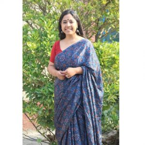 Balika Modal Silk Ajrakh Handblock Printed Saree - Red & Blue