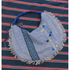 Kritenya Linen Cotton Boho Satchel Tote Bag - Blue