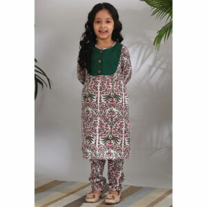 The Cotton Staple Mughal Yoke Kurti Set