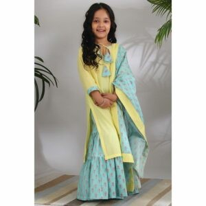 The Cotton Staple Chinar Sharara Set
