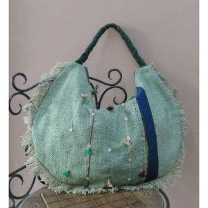 Kritenya Linen Cotton Boho Satchel Tote Bag - Green