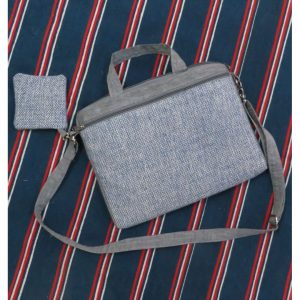 Kritenya Linen Cotton Laptop Bag - Blue