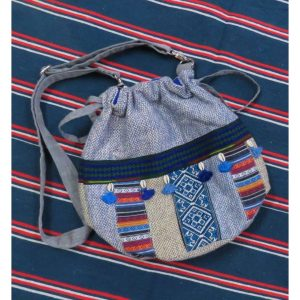 Kritenya Linen Cotton Bucket Sling Bag - Blue