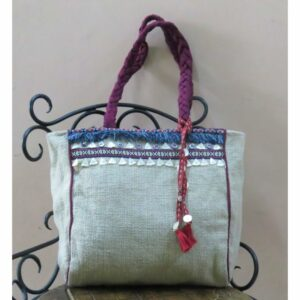 Kritenya Linen Cotton Medium Tote Hand Bag - Natural