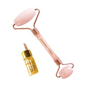 Natural Vibes Rose Quartz Roller & Massager for Face, Neck and Under eye with FREE Gold Beauty Elixir Oil