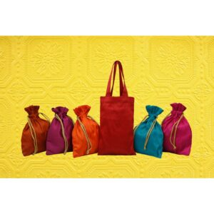 Handcrafted Colorful Potlis SET OF 5+ Gift Tote 01