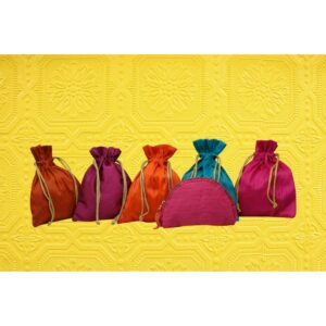 Handcrafted Colorful Potlis SET OF 5 +COIN POUCH 01 PINK