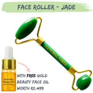 Natural Vibes Jade Roller & Massager for Face, Neck and Under eye with FREE Gold Beauty Elixir Oil