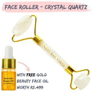 Natural Vibes White Crystal Quartz Roller & Massager for Face, Neck and Under eye with FREE Gold Beauty Elixir Oil