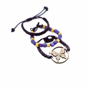 KSAMAH Eco-Friendly Animal Spirit Blue & Black Beads Butterfly Bracelet