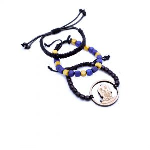 KSAMAH Eco-Friendly Animal Spirit Blue & Black Beads Dog Bracelet