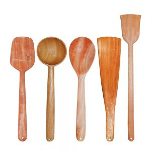 Neem Wood 100% Eco Friendly Spatulas Set Of 5 For Cooking/Serving Spoons/Utensils