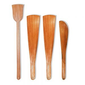 Neem Wood Spatulas For Cooking Serving ( Daily-Use, Pack Of 4 )
