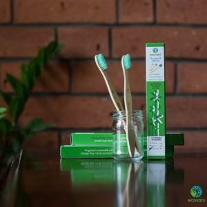 Bamboo Tooth Brush- Neem and Natural - Pack of 4 Brushes - 2 Neem and 2 Natural