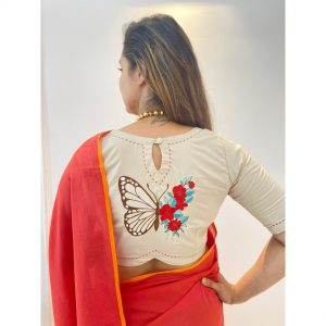 Butterfly Embroidered Stitched Blouse