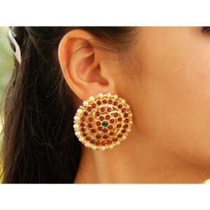 Maroon And Green Kemp Stone Big Round Stud Earring With White Pearls By Nishna Designs