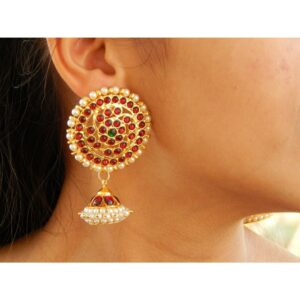 Maroon And Green Kemp Stone Big Round Stud Hanging Jumka Earring With White Pearls By Nishna Designs