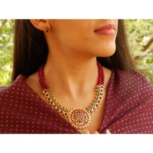 Handmade Maroon Kemp Round Pendant With Maroon Agate Beads 2 Layer Necklace Set By Nishna Designs