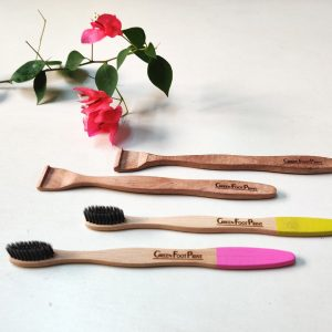 Bamboo Toothbrush & Neem Wood Tongue Cleaner- Combo Pack of 2 each